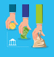 hands with money with bank building vector image vector image