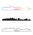 Havana skyline linear style with rainbow vector image
