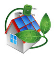 home and solar panels on the roof vector image vector image