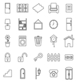 House related line icons on white background vector image vector image