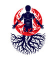 human being created with tree roots human and vector image vector image