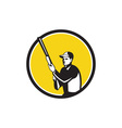 Hunter Holding Shotgun Rifle Circle Retro vector image