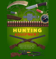 hunting equipment and weapon cartoon vector image vector image