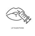 lip injections cosmetic treatment with syringe vector image vector image