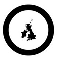 map of united kingdom icon black color in circle vector image