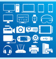 modern digital devices white icons isolated set vector image