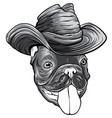 monochromatic a dog in a cowboy hat vector image vector image