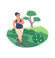 obesity and weight problems fat woman jogging in vector image vector image