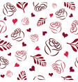 pattern with red roses branches and hearts vector image