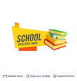 pile of books and welcoming text vector image vector image