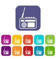 radio icons set vector image vector image