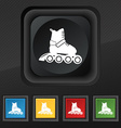 roller skate icon symbol Set of five colorful vector image