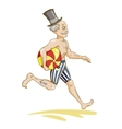 running man with beach ball vector image vector image