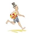 Running man with beach ball