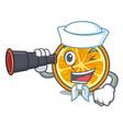 sailor with binocular orange mascot cartoon style vector image vector image