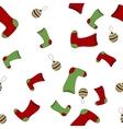 Seamless Christmas pattern with xmas socks stars vector image