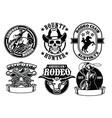 set cowboy badge vector image