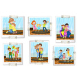 Set of family photos vector image vector image