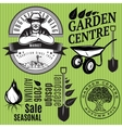 set of retro badges with farmer for gardening or vector image vector image