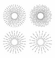 set vintage sunburst in lines shape linear vector image