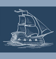 ship or sailboat sketch sea transport sailing vector image vector image