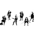 six silhouettes pirates vector image vector image