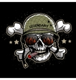 Skull in sunglasses and a military helmet vector image vector image