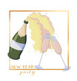 sparkled wine bottle popping and glasses toasting vector image vector image