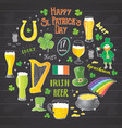 st patricks day hand drawn doodle set with vector image vector image