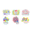 summer logo original design collection bright vector image