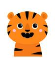 tiger roaring yawing open mouth fang cute cartoon vector image