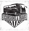 travel bus vintage emblem vector image vector image