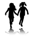 two preschooler girls holding hands and running vector image