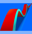 wavy red arrow on blue background vector image vector image