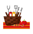 wicker basket barbecue sauces tongs vector image