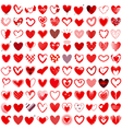 100 Heart icons hand drawn vector image vector image