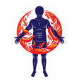 athletic man human and nature harmony fire man vector image