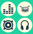 audio icons set collection of earphone barrel vector image vector image
