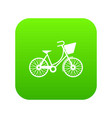 bike with luggage icon digital green vector image vector image