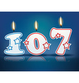 Birthday candle number 107 vector image vector image