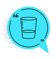 black line glass with water icon isolated on white vector image vector image