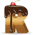 Cake letter R- birthday font vector image vector image