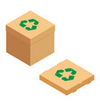 cardboard boxes with green recycle symbol vector image