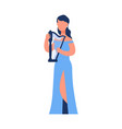 cartoon musician woman playing musical instrument vector image