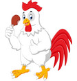 cartoon rooster eating vector image