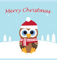 christmas card with cute owl vector image vector image