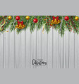 christmas tree branch decorated with gold bubbles vector image vector image