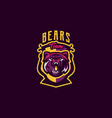 colorful emblem of an aggressive bear sports logo vector image