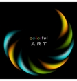 Colorful iridescent round logo on black background vector image vector image