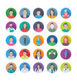 colourful flat icons pack of professions vector image